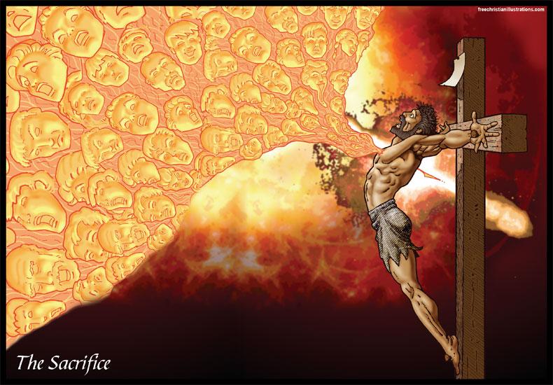 Jésus crie à Dieu dans la souffrance dans images sacrée Gospel-Sacrifice