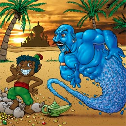 Aboriginal with Genie - Children's Book by Ian Coate